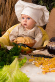 Little boy in the cook costume Royalty Free Stock Images