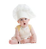 Little boy with cook hat isolated. On white Royalty Free Stock Image