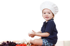 Little boy cook pizza. Closeup isolated on white Royalty Free Stock Photo