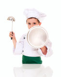 Little boy cook threaten Royalty Free Stock Photography