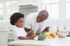 Little boy cooking with his father Royalty Free Stock Photos