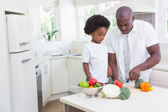 Little boy cooking with his father. In the kitchen Royalty Free Stock Photo