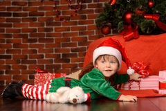 Little boy in costume in christmas interior Royalty Free Stock Photo
