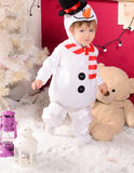 Little boy in costume of snowman indoors Royalty Free Stock Photography
