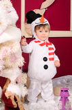 Little boy in costume of snowman indoors Royalty Free Stock Image
