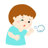 Little boy coughing  cartoon. Little boy coughing  cartoon illustration Stock Image