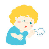Little boy coughing  cartoon. Little boy coughing  cartoon illustration Stock Photography