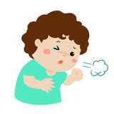 Little boy coughing  cartoon. Little boy coughing  cartoon illustration Royalty Free Stock Images