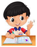 Little boy counting with fingers Stock Images