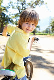 Little boy on country bike ride Royalty Free Stock Photo