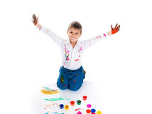 Little boy covered in bright paint Royalty Free Stock Photos