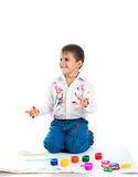 Little boy covered in paint Stock Photo
