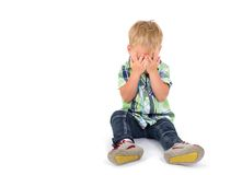 Little boy covering his eyes Royalty Free Stock Photos