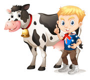 Little boy and a cow Stock Photos