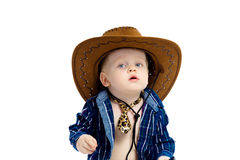 Little boy in cowboy hat and tie Stock Photos