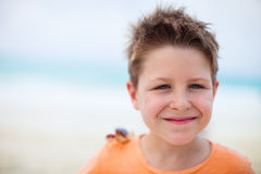 Little boy with a crab Royalty Free Stock Images