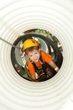 Little Boy Crawling In Adventure Park Stock Image