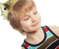 Little boy with crown Stock Photos