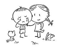 A little boy crying and a girl comforting him, outline. Vector illustration stock illustration