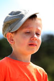 Little boy crying outdoor Royalty Free Stock Image