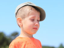 Little boy crying outdoor Royalty Free Stock Photo