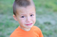 Little boy crying with tears portrait Royalty Free Stock Photography