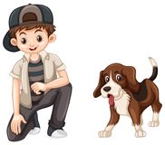Little boy and cute beagle dog. Illustration Royalty Free Stock Images