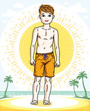Little boy cute child standing in colorful stylish beach shorts. Royalty Free Stock Photography