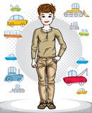 Little boy cute child standing wearing fashionable casual clothe. S. Vector pretty nice human illustration. Fashion theme clipart Stock Photography