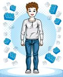 Little boy cute child standing wearing fashionable casual clothe. S. Vector human illustration. Fashion and lifestyle theme cartoon Stock Photography