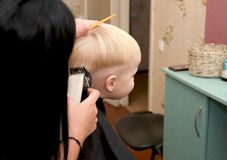A little boy is cutting a hairdresser in the salon. The kid is watching a cartoon. Green screen on a laptop for signature stock photos