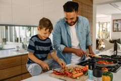 Father and son preparing food in kitchen Royalty Free Stock Photography