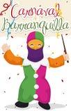Little Boy a déguisé comme Monocuco dans le carnaval du ` s de Barranquilla, illustration de vecteur Photos stock