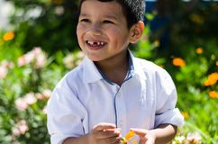 Little boy with a daisy in his hand and laughing stock photos