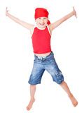 Little boy in dance. Isolated on whie background stock photo