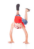 Little boy in dance. Isolated on whie background royalty free stock image