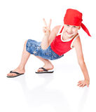 Little boy in dance. Isolated on whie background stock image