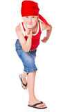 Little boy in dance. Isolated on whie background royalty free stock photography