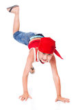 Little boy in dance. Isolated on whie background stock images