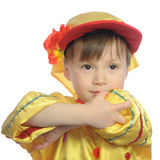Little boy dancing in russian traditional folk clothes Stock Image