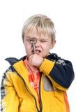 Little Boy, das durch eine Taste schaut Lizenzfreies Stockbild