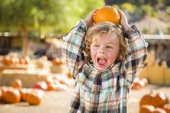 Little Boy, das seinen Kürbis an einem Kürbis-Flecken hält Stockbilder