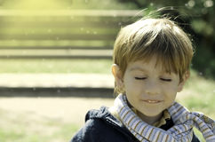 Little Boy Daydreaming Or Making A Wish Royalty Free Stock Photography