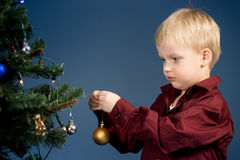 Little boy decorates the Christmas tree. Spruce with decorations. Kid and adornment.  Stock Photography