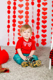 Little boy with  decorations on Valentine's Day Royalty Free Stock Photo