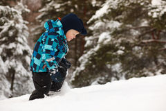 Little boy in deep snow Royalty Free Stock Photography