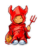 Little boy in demons costume for halloween Royalty Free Stock Photo