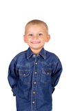 Little boy in denim blue shirt. Portrait of a cute smiling little boy in denim blue shirt isolated on white background Stock Images
