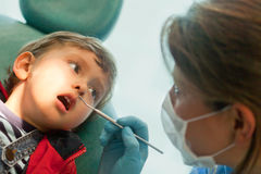 Little boy at the dentist Stock Images
