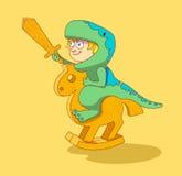 Little Boy die een houten paard berijden stock illustratie